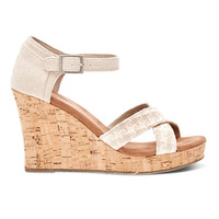 TOMS Woven Natural Cork Wedge Shoes