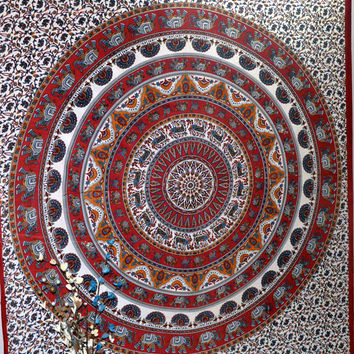 Indian Round Elephant Mandala Bohemian Tapestry Hippie Wall Hanging Gypsy Tapestries Throw Bedspread Queen Bed Cover