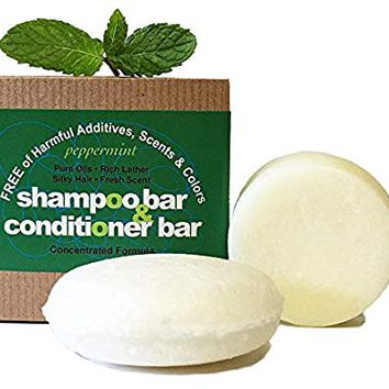 Whiff Shampoo Bar & Conditioning Bar, Peppermint: Rich lather, Pure oils, Limited Ingredients, FREE from harmful Additives, Fragrances, Scents, Colorings; Concentrated formula (peppermint)
