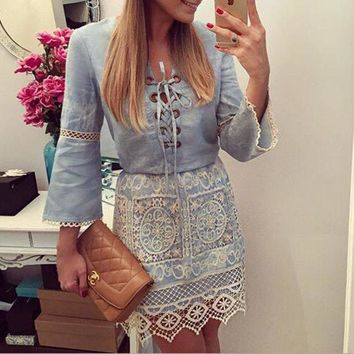 PEAPON LACE DENIM LONG-SLEEVED DRESS