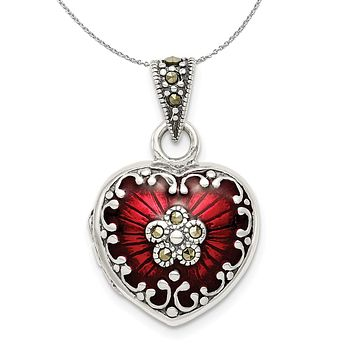 Silver, Red Enamel and Marcasite Antiqued Heart Locket, 16mm Necklace