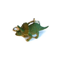 Dinosaur keyring key chain bag charm upcycled repurposed vintage toy  KHAKI