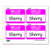 Sherry Hello My Name Is - Sheet of 4 Stickers