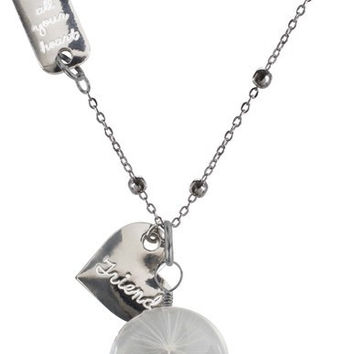 """Friend - 29"""" Sweater Necklace with Glass Wish Pendant"""