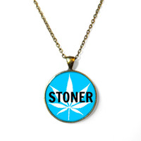 STONER Blue Teal Marijuana Leaf Pendant Necklace - Pop Culture Jewelry - Funny Weed Druggie Pendant