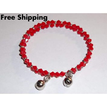 Holiday Red & Silver Beaded Jingle Bells Stackables Artisan Crafted Wrap Bangle Bracelet (M-L)