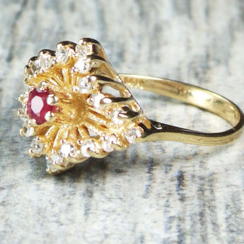 Vintage 14k Ruby Diamond Ring Genuine Ruby Ring Dinner Ring 14k Yellow Gold Ruby Diamond Ring July Birthstone Statement Cocktail Ring