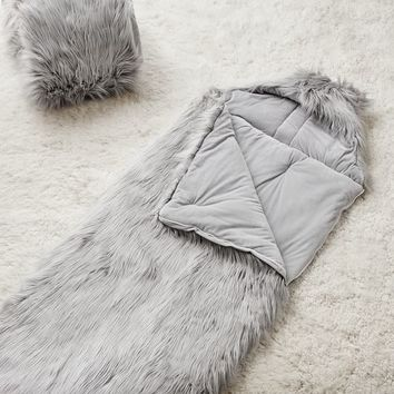 Himalayan Gray Faux-Fur Furrific Hooded Sleeping Bag
