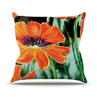"Christen Treat ""Through the Looking Glass"" Orange Green Outdoor Throw Pillow"