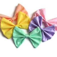 1 Big Solid Pastel Colored Hair Bow - Pick your color