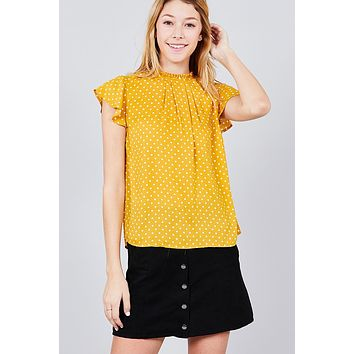 Short Sleeve Ruffle Neck Back Button Dot Print Woven Top ()