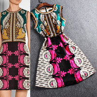 Printed Sleeveless Waist Sheath Mini Dress