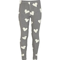 Girls cream hearts and stripes leggings