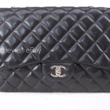 AUTHENTIC CHANEL JUMBO SINGLE FLAP BLACK LAMBSKIN SILVER CHAIN SHW SHOULDER BAG