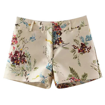 Flower Print High Waisted Shorts