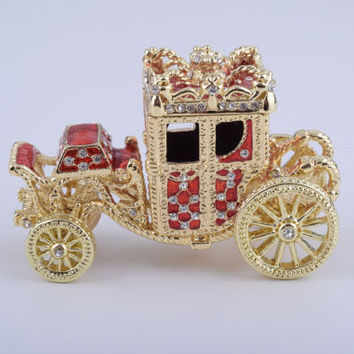 Golden Red Carriage Handmade Trinket Box by Keren Kopal Faberge Style Decorated with Swarovski Crystals
