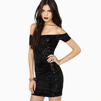 Black Off-Shoulder Sequined Bodycon Mini Dress