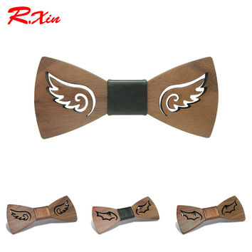 R.XIN Brand New Design Fashion Handmade Wood Angel wings Wedding Bowtie Gravata Ties For Men DIY Hollow Mens Wooden Bow Tie