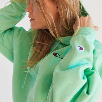 LMFGE2 Fashion Online Champion & Uo Powerblend Mini Logo Hoodie Sweatshirt - Mint Green