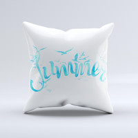 The Summer Blue Watercolor Seagulls ink-Fuzed Decorative Throw Pillow