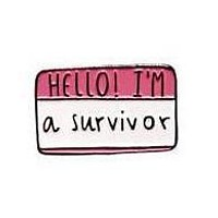 Hello I'm a Survivor Enamel Pin in Red and White
