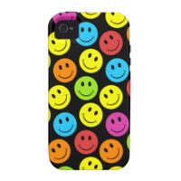 Happy Colorful Smiley Faces Pattern iPhone 4/4S Covers