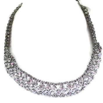 Rhinestone Collar Necklace Clear Crystals Vintage Wedding Bridal Diva Glamor Girl