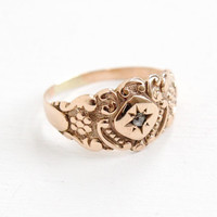 Antique Victorian 8k Gold Rose Cut Diamond Ring - Size 6 Vintage Late 1800s Floral Repousse Fine Wedding Band Gemstone Jewelry