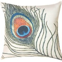 Peacock Feathers Decorative Pillow: Home & Kitchen