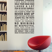 Vinyl Wall Decal Sticker Art House Rules by urbanwalls on Etsy