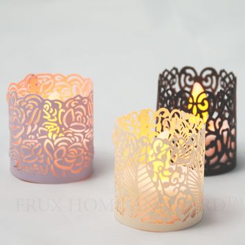 Frux Home and Yard Flameless Tea Light Set with Flickering LED Battery Tealight Candles with Bonus Votive Wraps (24 Pack)