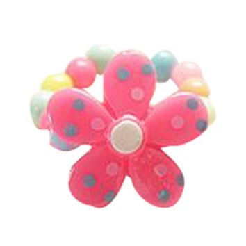 Set Of 5 Flower Ring Candy Beads Children's Jewelry Ring Rose Red