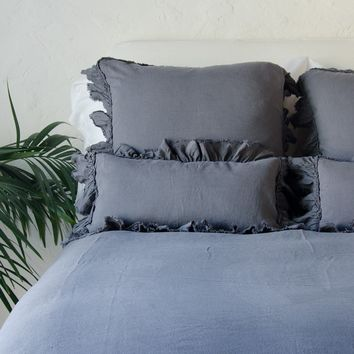 Corrina Linen Kidney Throw Pillow with Bias Raw Ruffle in CHARCOAL