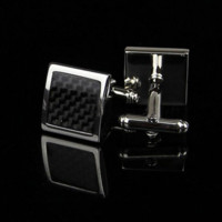 Black Cascade Grid on Silver Face Cufflink