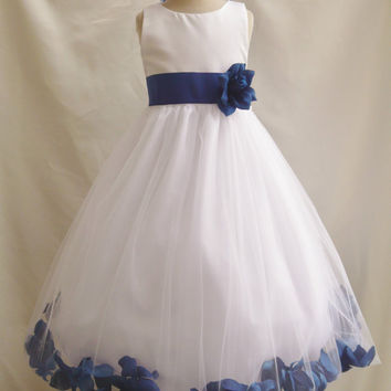 Rosepetal Dress IVORY Flower Girl Blue Navy Turquoise Brown Burgundy Fuchsia Green Sage Guava Lilac Orange Pink Purple Red Teal Silver Cheap