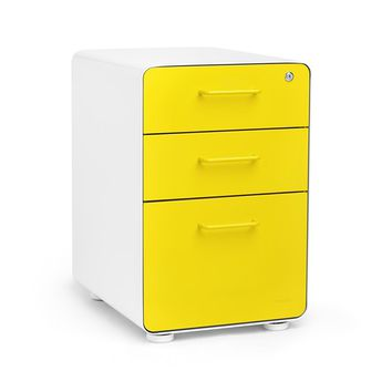 White + Yellow Stow 3-Drawer File Cabinet | Poppin