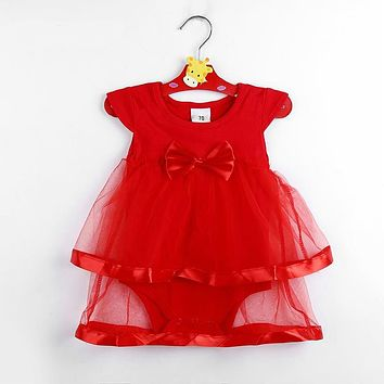 New Born Baby Dress Cotton Bow Baby Rompers For girls Kids Clothes Baby Girls Jumpsuit