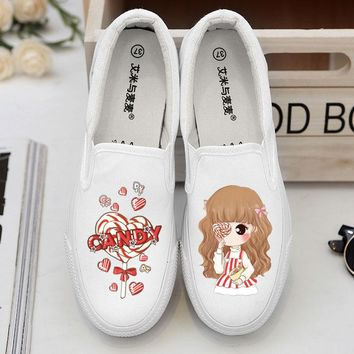 Summer Young Design Hand-Painted Canvas Shoes Rihanna Spring Women's
