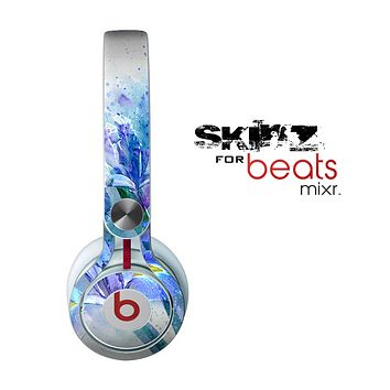 The Abstract Blue Floral Art Skin for the Beats by Dre Mixr Headphones