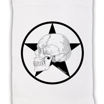"""White Skull With Star Micro Terry Sport Towel 11""""x18 by TooLoud"""