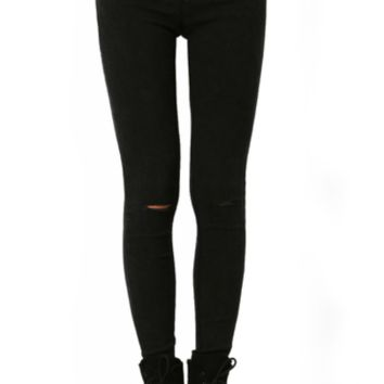 Black Stretch Ripped Skinny Jeans