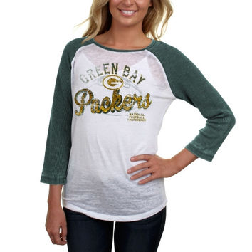 Green Bay Packers Womens Baby Jersey Three-Quarter Sleever Thermal Burnout Shirt - Green/White
