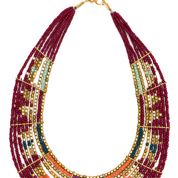 Lisa Beaded Necklace - Burgundy