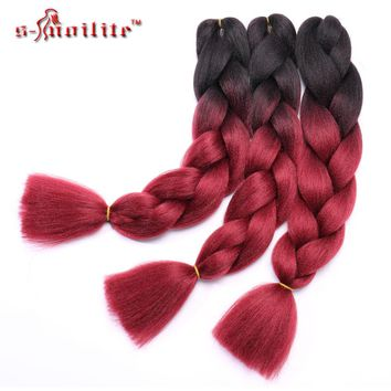 "Snoilite 24"" Kanekalon braiding hair ombre two tone colored jumbo braids hair synthetic hair for dolls crochet hair 100g/pack"
