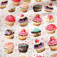 tp084A - 1 Yard Cotton Poplin Fabric - Sweet Cup Cakes - Red Cherry (W140)