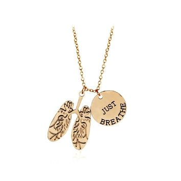 JUST BREATHE Necklace Human Organs Lungs Alloy Pendant Necklace Protect the Environment Love Our Earth Trendy Jewelry Accessorie