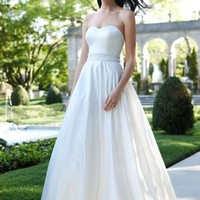 Strapless Satin A-Line with Beaded Waistband - David's Bridal