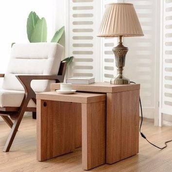 Set of 2 Nesting Coffee End Table Side