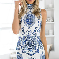 White Porcelain Print Turtleneck Sleeveless Mini Dress