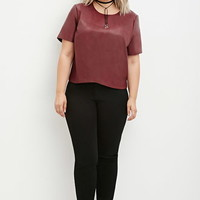 Plus Size Faux Leather Top